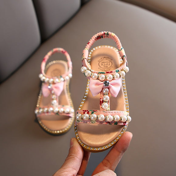 Crystals Pearl Bow Girls Sandals