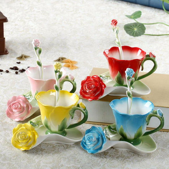 Porcelain Rose Shape Coffee Cup Sets