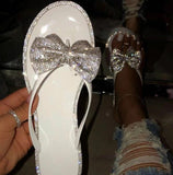 Bow Flip Flops Diamond Slippers