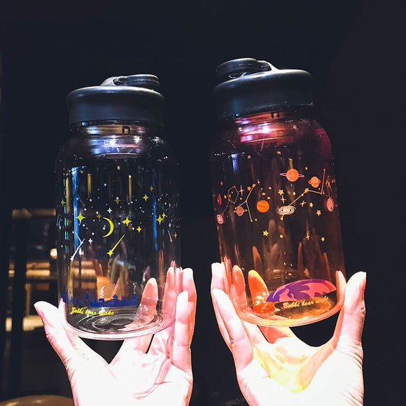 Starry Night Sky Glass Bottle