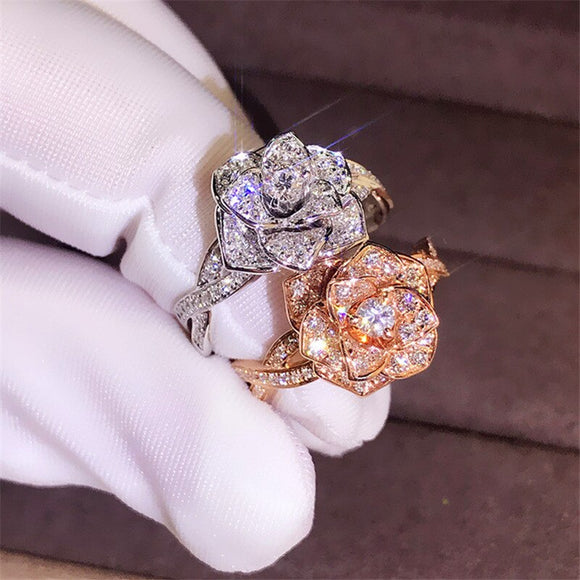 Luxury Big Rose Flower Ring