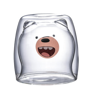 Cute Bear Double Coffee Glass Cup