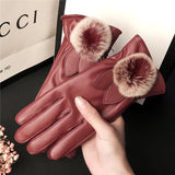 Ladies Fur Ball Leather Gloves