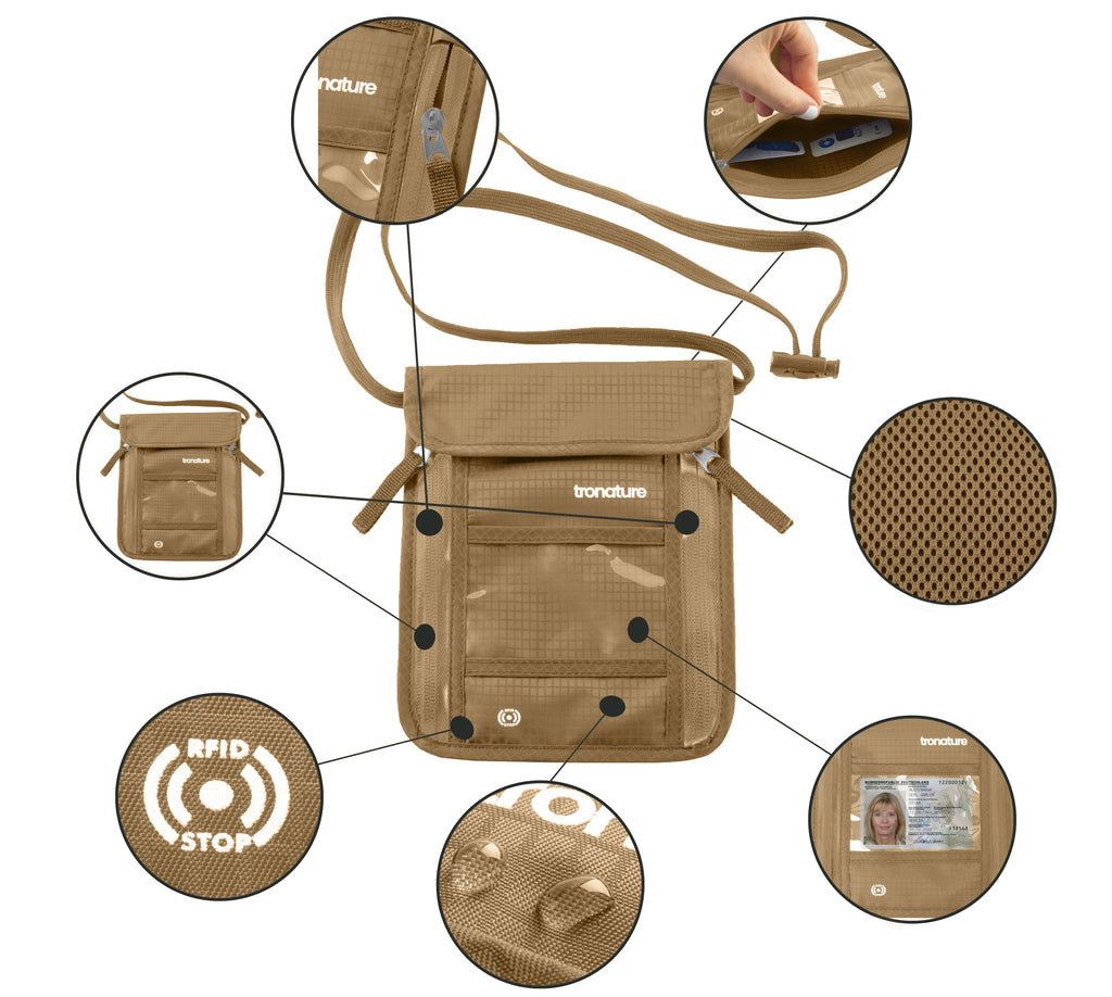 Tronature Brustbeutel mit RFID Blocker – Beige