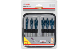 6-piece Self Cut Speed Flat Wood SC (Spade) set in a roll-up case. 2608595425