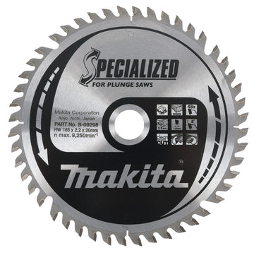 Makita B-09298 TCT Circular Saw Blade 165X20X48T for Plunge Saws