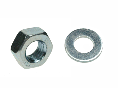 M16 Hex Nut and Washer BZP. Bag of 4