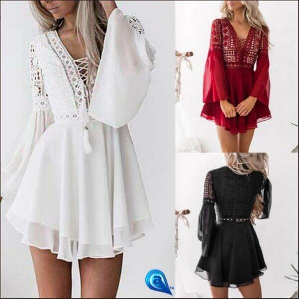 🏆 Black & White Red Bohemian Mini Dress 🏆