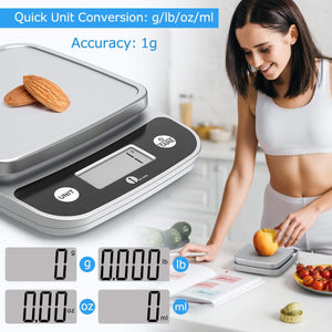 Digital Kitchen Scale Food Scale, 11 lb/5 kg Stainless Steel LCD Display Tare Function Automatic Shutdown Batteries Included, Silver