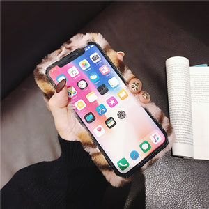 Plush Leopard Rabbit IPhone 11 Mobile Phone Case Iphone7/8plus Soft Protective Cover Winter XsMax Applicable Female
