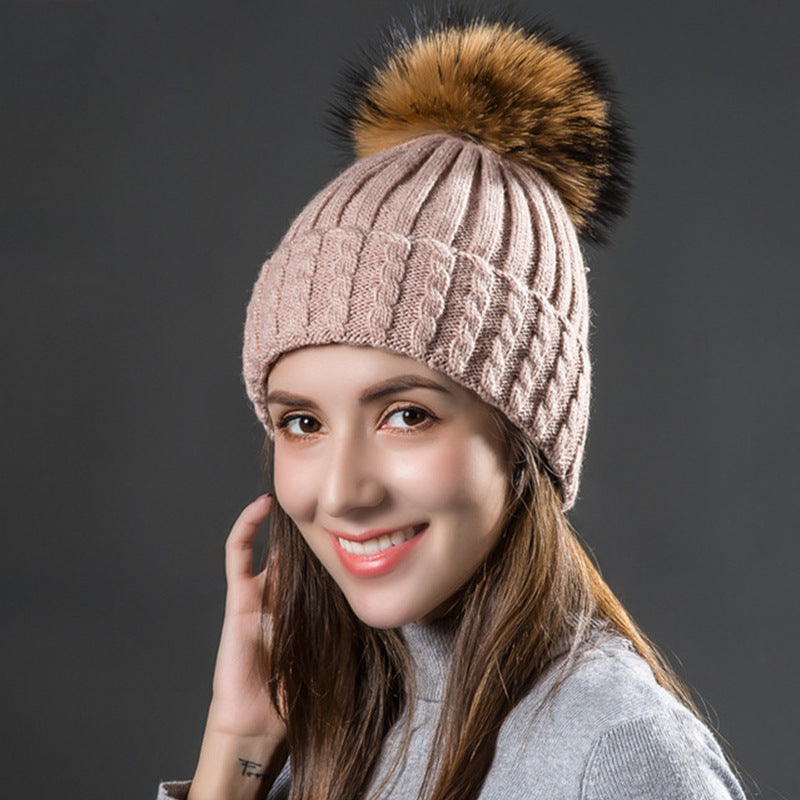 Natural Raccoon Fur Pom Poms Hat Female Warm Wool Women's Cap Twist-Type Knitted Girl Winter Hats Skullies Beanies