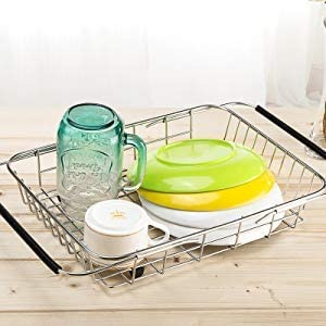 Expandable Dish Rack, Deep Large Dish Drying Rack with Utensil Cutlery Holder, Dish Drainer Shelf Dish Rack in Sink On Counter with Utensil Silverware Cutlery Holder, Rustproof Stainless Steel
