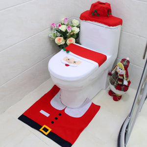 3pcs/set Christmas Decorations For Home Elf Deer Santa Claus Toilet Seat Cover Toilet Lid New Year Xmas Christmas Ornaments