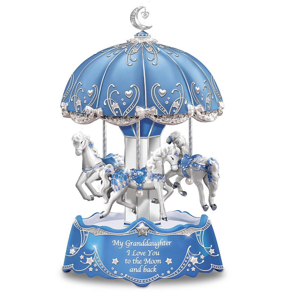Granddaughter, I Love You To The Moon Carousel Music Box