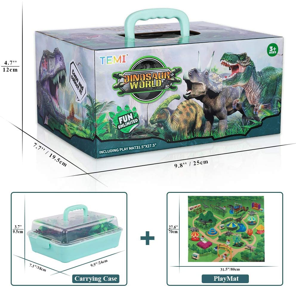 Dinosaur Toy Figure w/ Activity Play Mat & Trees, Educational Realistic Dinosaur Playset to Create a Dino World Including T-Rex, Triceratops, Velociraptor, Perfect Gifts for Kids, Boys & Girls