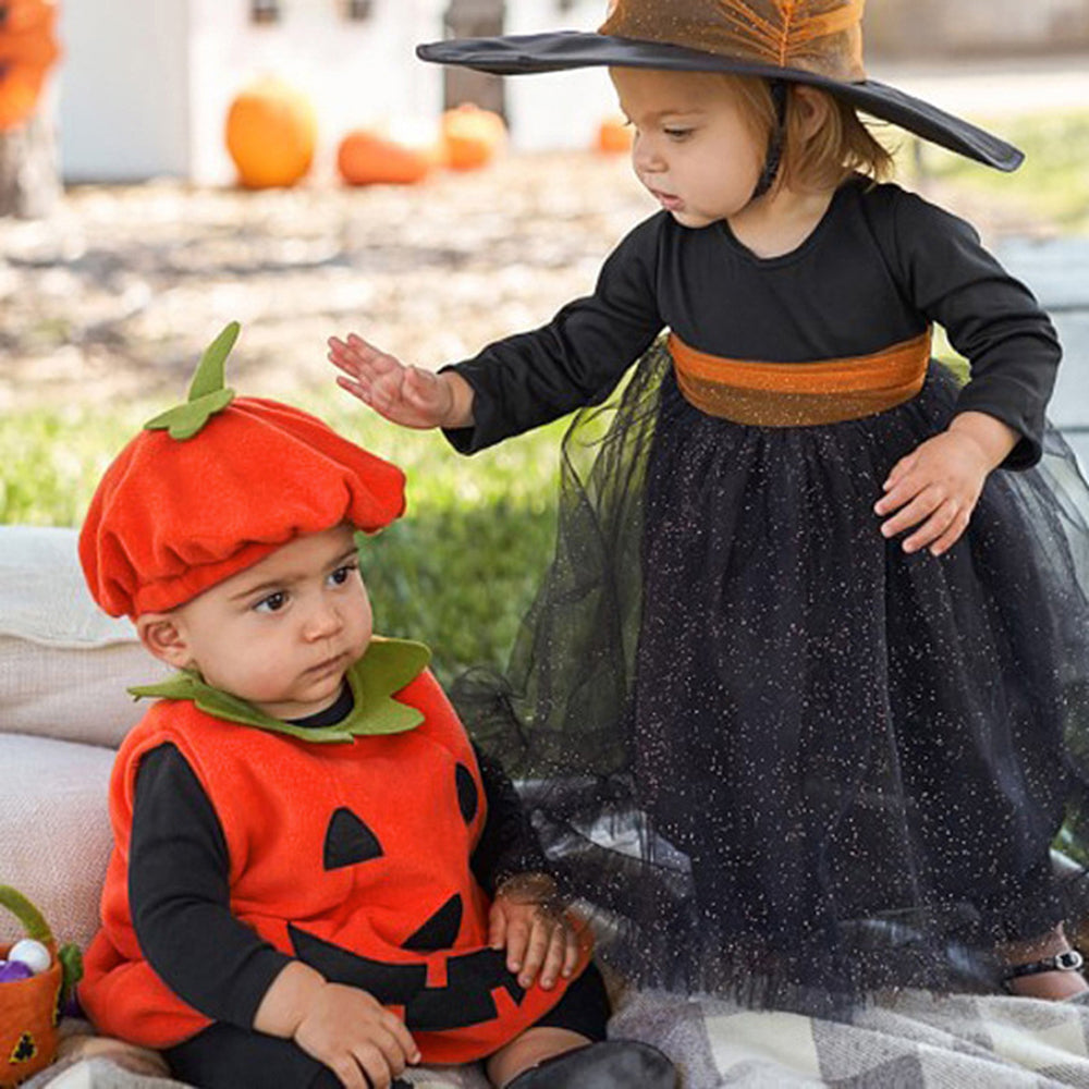 Toddler Infant Baby Boy Girl Cosplay Pumpkin Halloween Outfits Vest Tops Hat Newborn Halloween Costume For Baby Girl Clothes Set