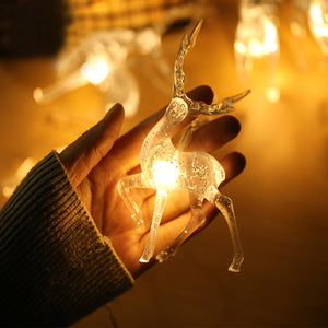 🎄Warm White LED Reindeer Battery Operated Christmas String Lights