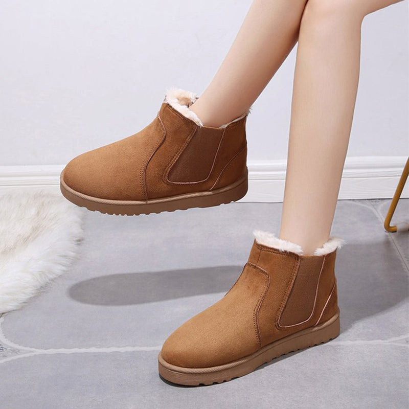 Women winter snow boots plush female classic suede women slip on elastic band ladies platform casual short boots women shoes