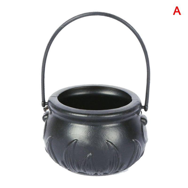 Black Witch Cauldron Candy Jar | Mini Pot with Handle for Halloween Party