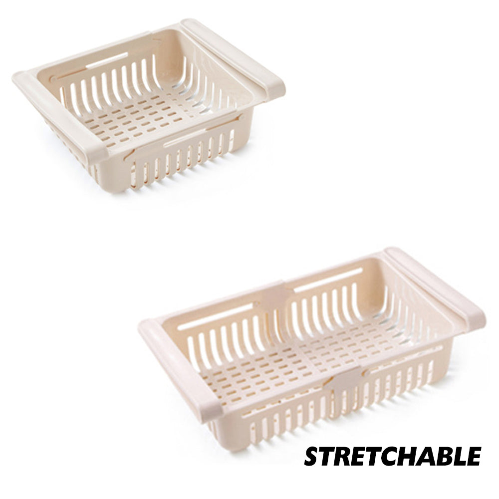 1PC Adjustable Stretchable Fridge Organizer Drawer Basket Refrigerator Pull-Out Drawers Fresh Spacer Layer Storage Rack