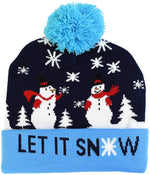 LED Christmas Hat Sweater Knitted Beanie Christmas Light Up Knitted Hat For Kids Xmas 2021 New Year Decorations