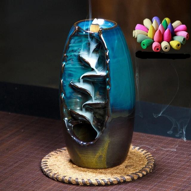 Mystic Mountain River Down Flow Draft Incense Burner (2 Sizes & Colors)