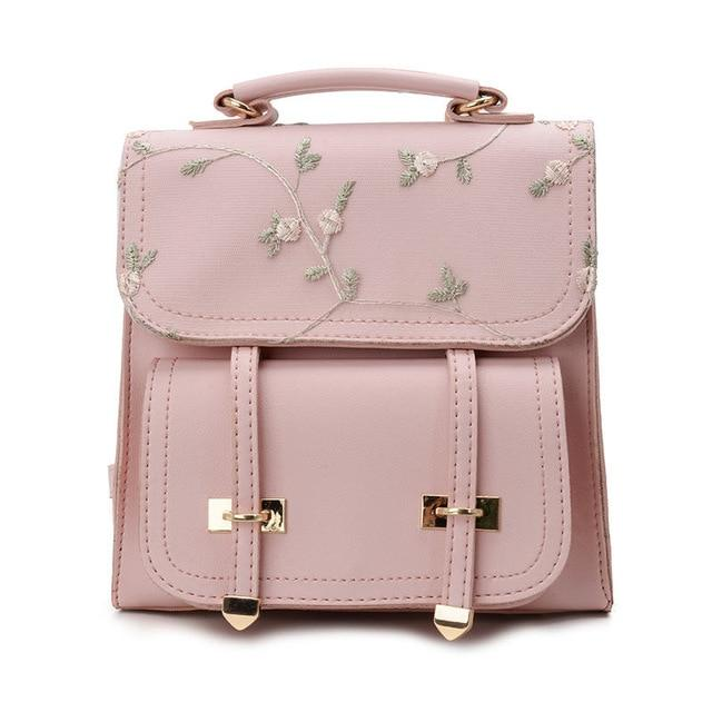 Floral Embroidery Leather Backpack