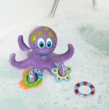 Purple Octopus with 3 Hoopla Rings Interactive Bath Toy