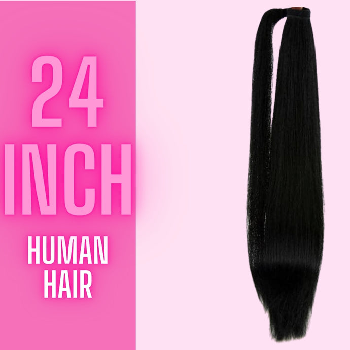 Human Hair Straight Pony Tail 24 in 110g - The Pink Star Company