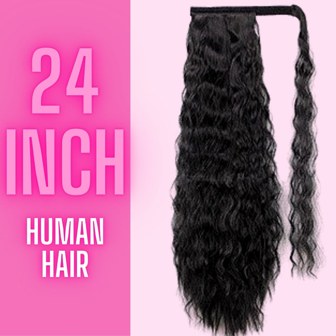 Human Hair Curly Pony Tail 24 in 110g - The Pink Star Company