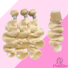 Load image into Gallery viewer, Blonde Body Wave Bundles with 4x4 Closure - The Pink Star Company