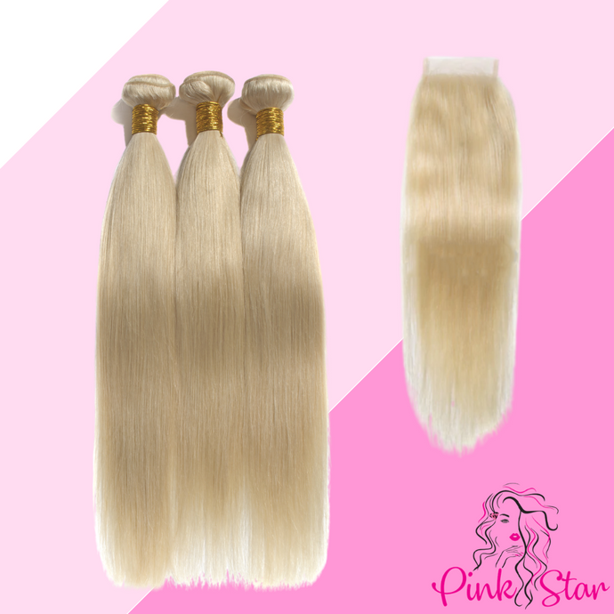 Blonde Bundles with 4x4 Closure - The Pink Star Company