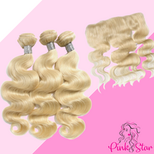 Load image into Gallery viewer, Blonde Body Wave Bundles with 13x4 Closure - The Pink Star Company