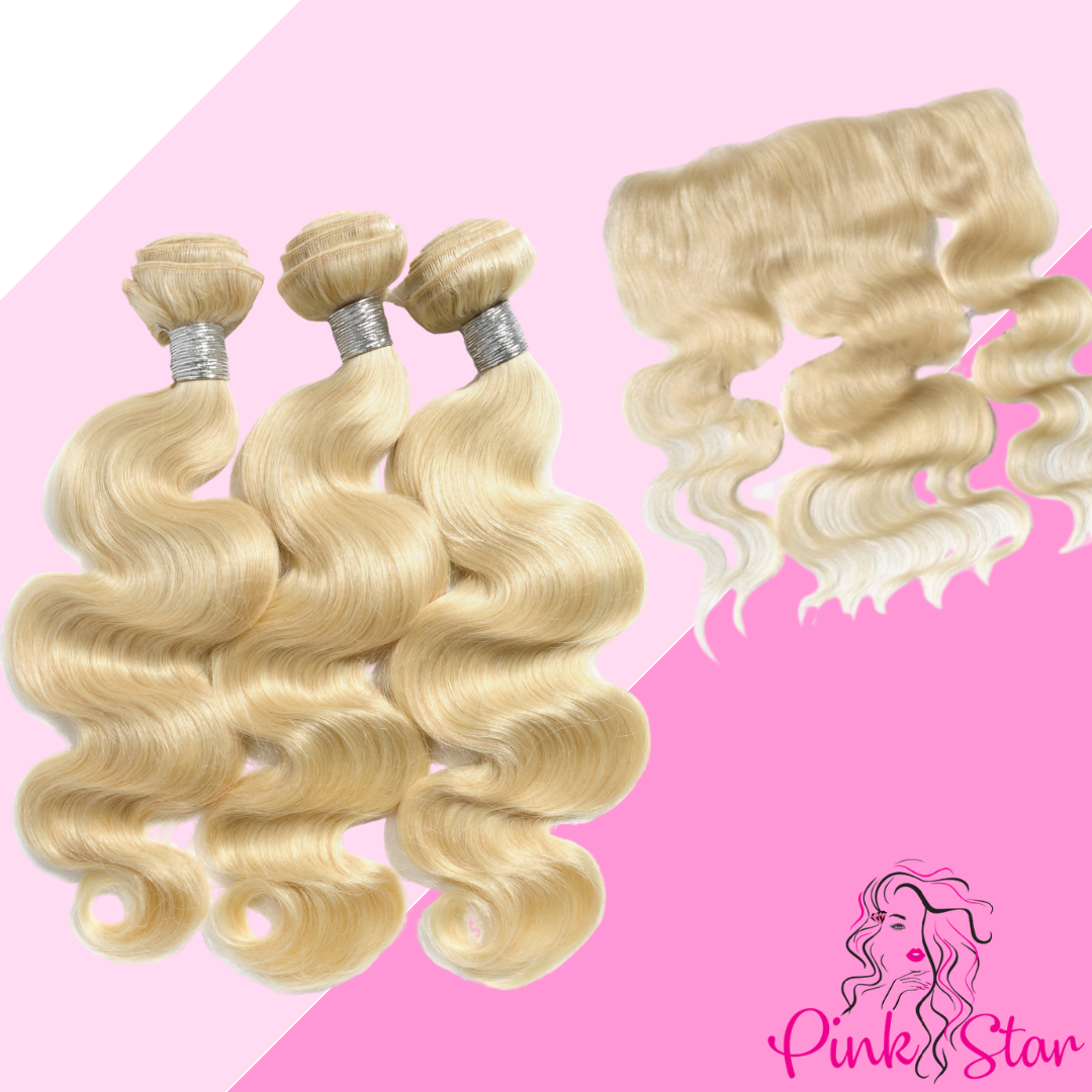Blonde Body Wave Bundles with 13x4 Closure - The Pink Star Company