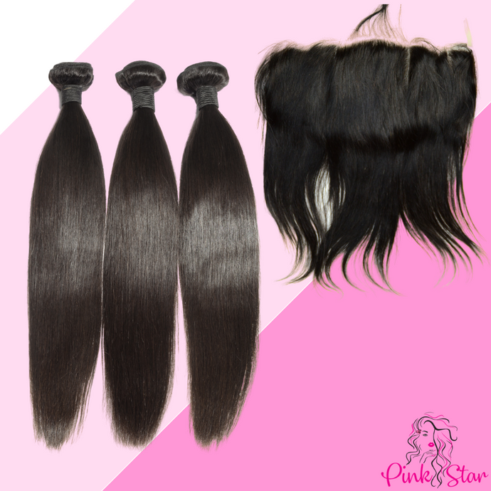 Straight Bundles with 13x4 Closure - The Pink Star Company