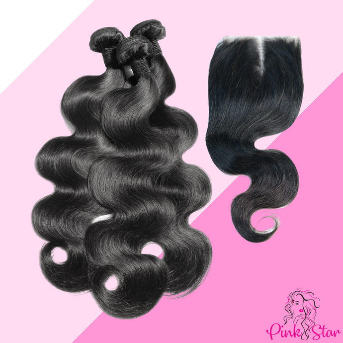 Body Wave Bundles with 4x4 Closure - The Pink Star Company