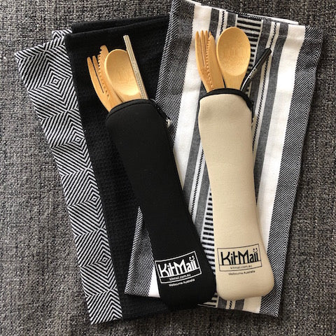 Bamboo Cutlery Set with Straw in Pouch