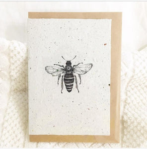Honey Bee Card on 100% Handmade Recycled Paper with KRAFT paper envelope