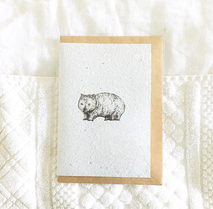 Wombat Card on 100% Handmade Recycled Paper with KRAFT paper envelope
