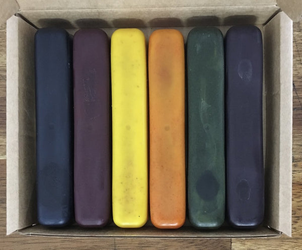 ECO CRAYONS STICKS - 6 COLOUR BOX: 100% natural plant based crayons