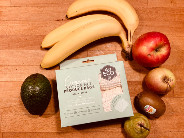 Reusable Produce Bags- Organic Cotton Net 4 Pack