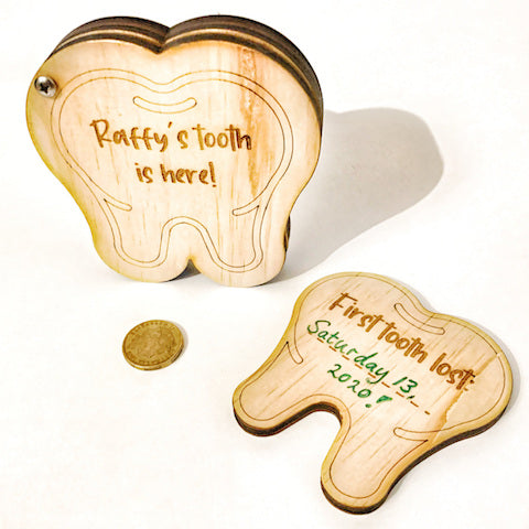 Tooth Fairy Box - wooden, 'tooth in - money out' storage system!