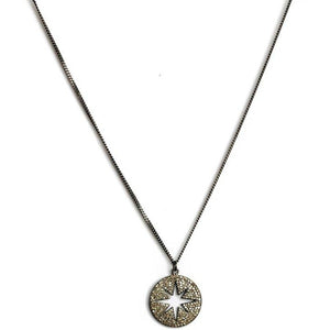Small Round Pave Star Necklace