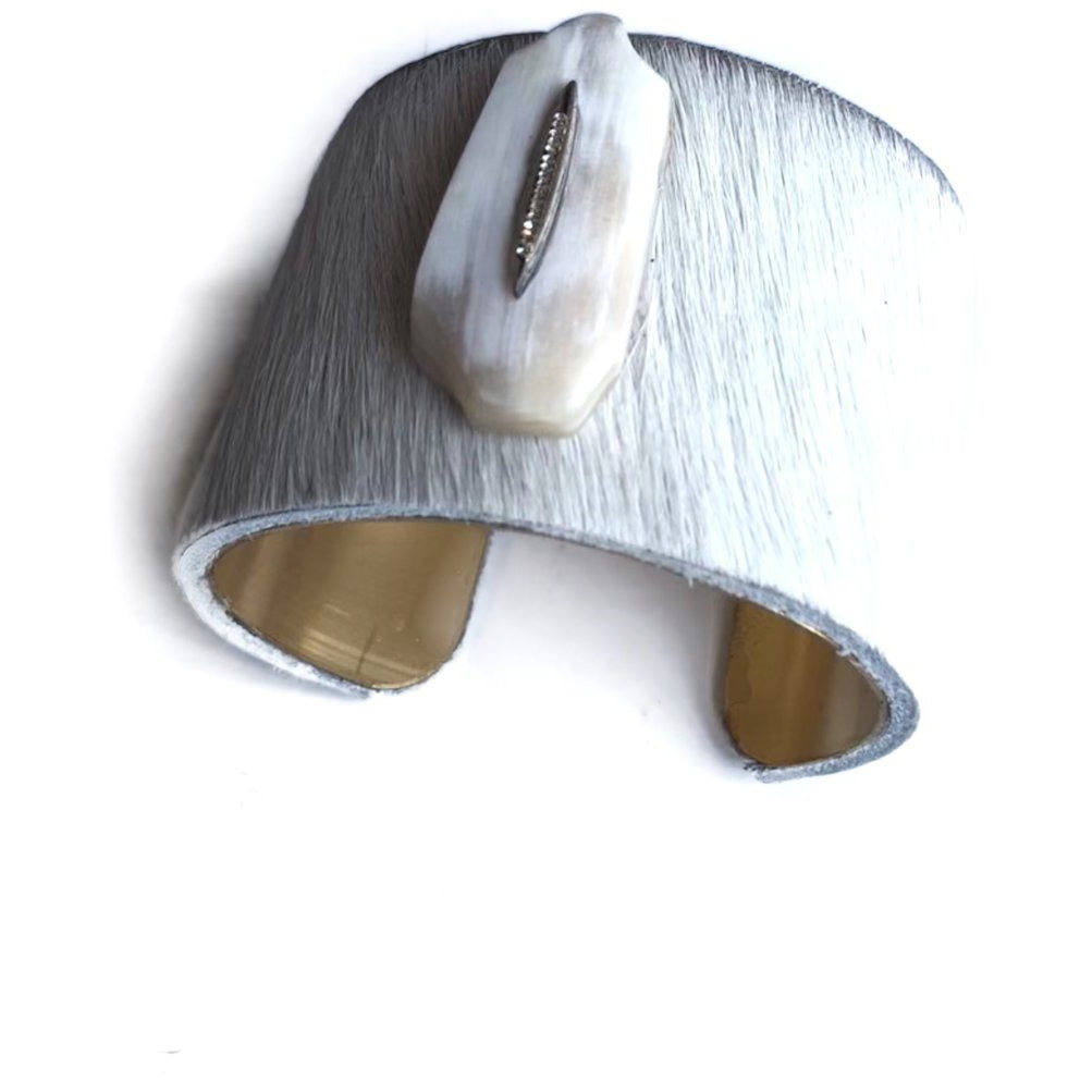 White Cowhide + White Buffalo Cuff
