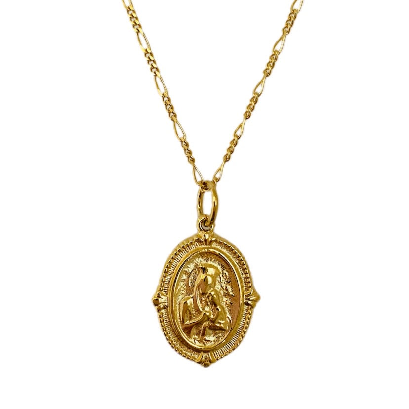 Best Selling Gold Madonna and Child Coin Necklace