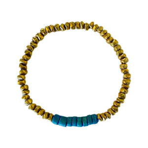 Gold Brass Nugget // Turquoise Coco Bracelet