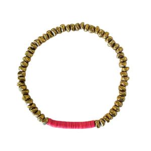 Gold Nugget // Hot Pink Heshi Bracelet