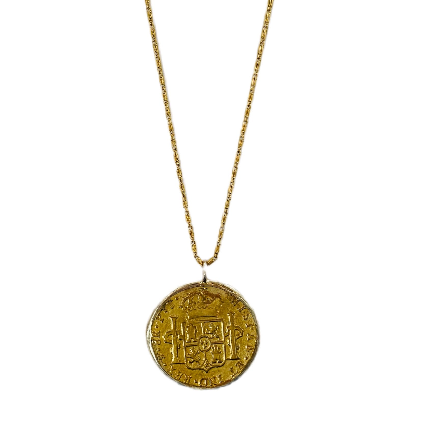 Long Large Gold//Silver Coin Necklace