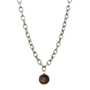 Chunky Oxidized Coin Necklace