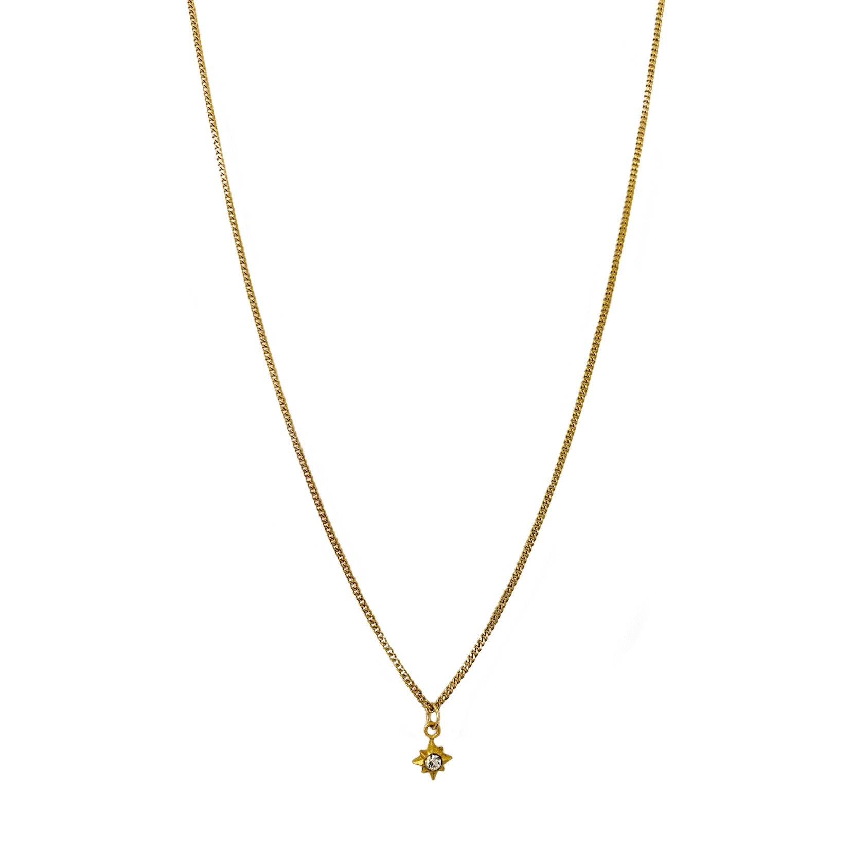 Tiny Gold Crystal Star Necklace
